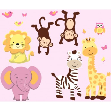 Jungle Tree Wall Decals With Zebra Wall Stickers For Girls