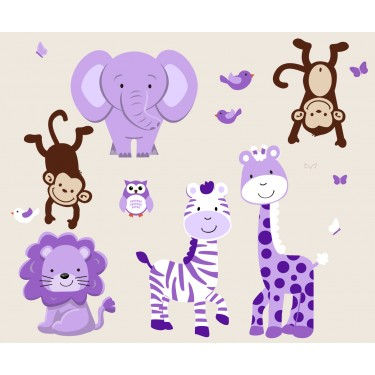 Purple and Green Jungle Murals For Girls Bedrooms