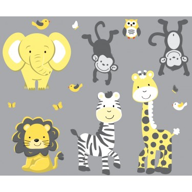 Yellow & Gray Jungle Nursery Wall Decals With Zebra Wall Decals For Nursery or Baby Room
