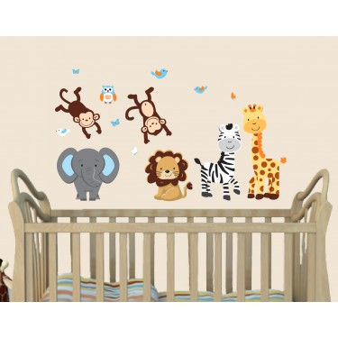 Paradise Jungle Safari Stickers With Giraffe Wall Decor For Children