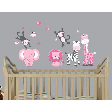 Pink & Gray Zoo Wall Stickers For Children