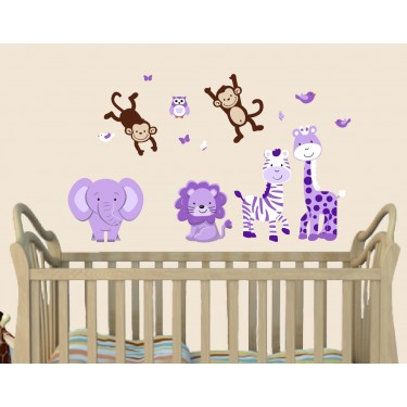 Purple and Green Safari Murals For Girls Rooms