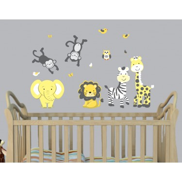 Yellow Jungle Wall Decals For Nursery With Animal Stickers For Play Rooms