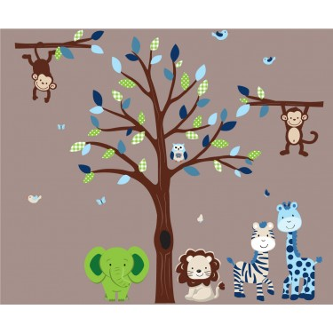 Blue and Green Jungle Murals For Kids With Wall Decals Trees For Boys