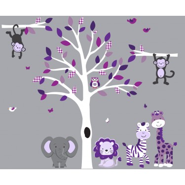 Purple and Gray White Tree Wall Decal With Safari Wall Decals For Girls Bedrooms