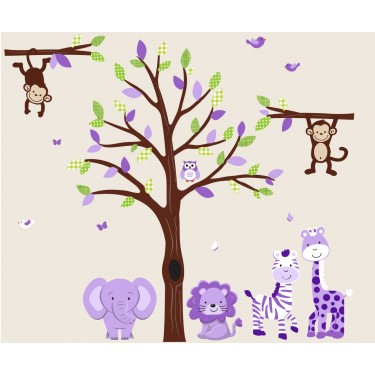 Green and Purple Tree Wall Decal With Jungle Wall Decals For Girls Rooms