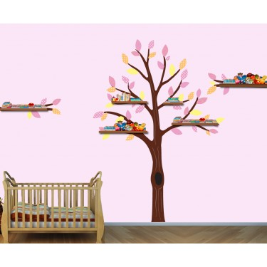 Pink and Orange Shelf Large Tree Wall Decal For Girls