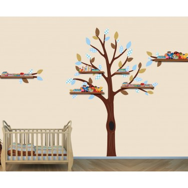 Blue and Brown Shelf Large Tree Wall Decals For Kids Rooms