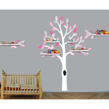 Pink and Gray Shelf Tree Decal For Nursery For Girls Rooms