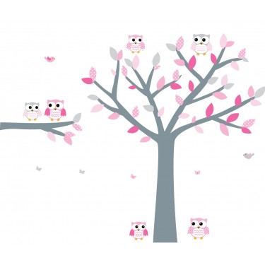 Pink and Gray Owl Wall Decor With Tree Wall Stickers For Girls