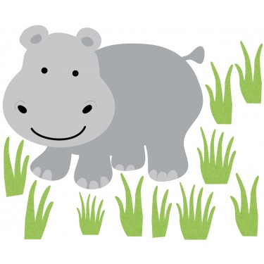 Grass and Hippo Wall Decor For Nursery Or Baby Room