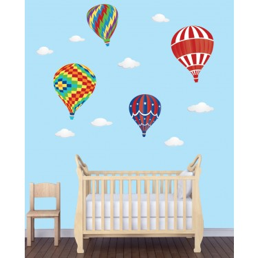 Wall Stickers Giant With Hot Air Balloon Wall Decor For Nursery or Baby Room