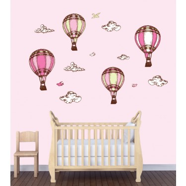 Large Hot Air Balloon Decals In Pink For Girls Nursery