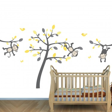 Yellow Amp Gray Safari Murals With Monkey Wall Decals For