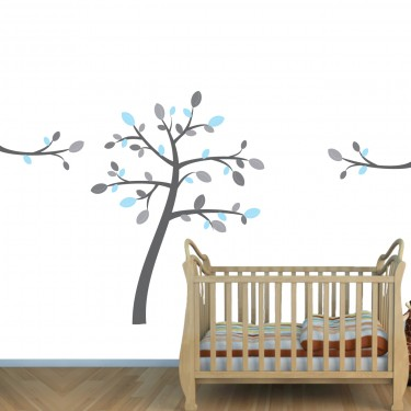Blue & Gray Zoo Wall Stickers & Kids Tree Wall Decal For Boys Bedrooms