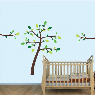 Green & Brown Jungle Tree Wall Decals & Tree Branch Wall Decor For Boy