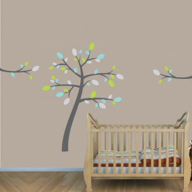Teal & Gray Safari Nursery Wall Decals With Tree Decal For Children