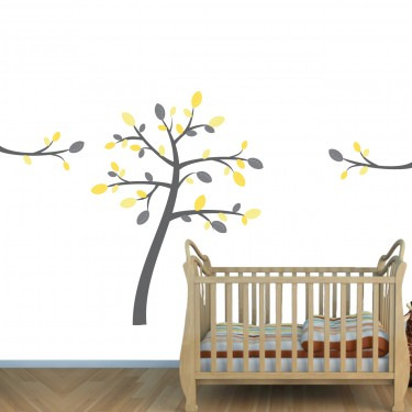 Blue & Brown Jungle Wall Mural & Giraffe Wall Decals For Play Rooms