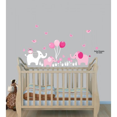 Colorful Safari Wall Stickers With Elephant  Stickers For Kids Rooms