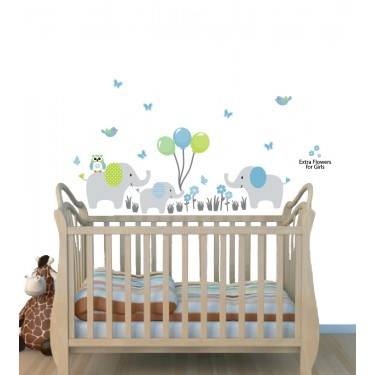 Elephant Stickers Jungle With Balloon Wall Decals For Boys Bedrooms
