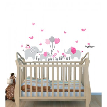 Elephant  Safari Wall Stickers and Balloon Decals For Boys Bedrooms