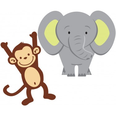 Monkey and Elephant Stickers For Kids Rooms