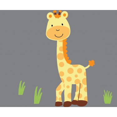 Grass and Giraffe Wall Decal For Children