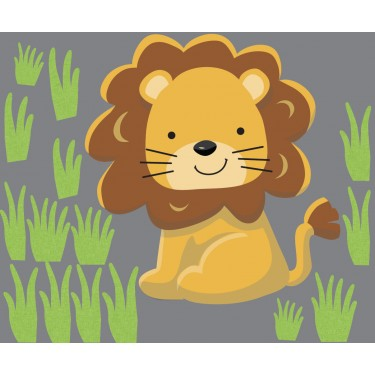 Grass and Lion Wall Decal For Children