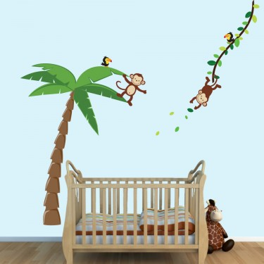 Large Palm Tree Wall Decals For Boys Bedrooms