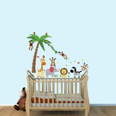 Removable Wall Art Stickers With Palm Tree Wall Decals For Kids