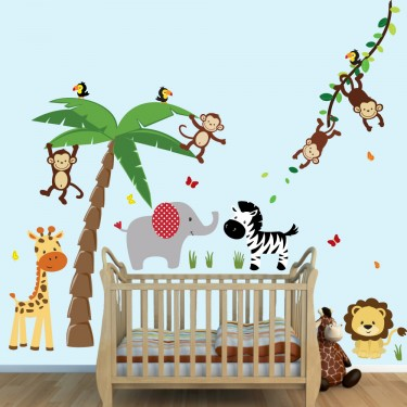 Colorful Large Wall Decals With Jungle Wall Stickers For Kids Rooms