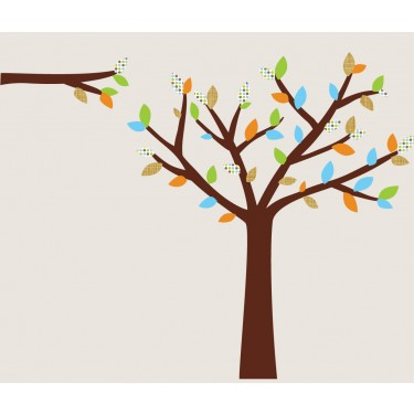 Green and Orange White Tree Wall Decal For Boys Rooms