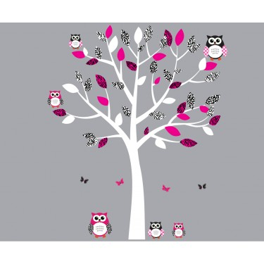 Beautiful Pink And Black Owl Decals With Tree Branch Wall Decal For Children