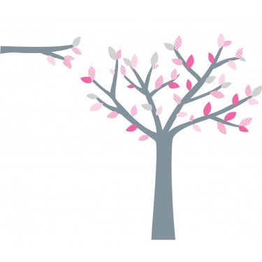 Pink and Gray Black Tree Wall Decal For Girls