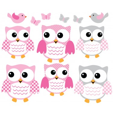 Pink and Gray Owl Wall Decal With Bird Wall Art For Kids Rooms