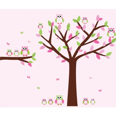 Pink and Green Owl Art For Kids With Wall Decal Tree For Girls Bedrooms