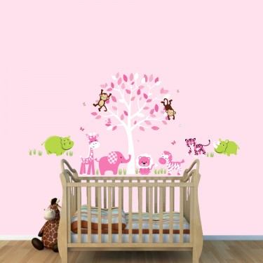 Pink Safari Stickers With Tiger Wall Decals For Girls