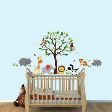 Green Jungle Wall Stickers and Decals For Kids Playroom