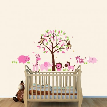 Baby Girls Safari Stickers With Hippo Wall Decals For Playroom