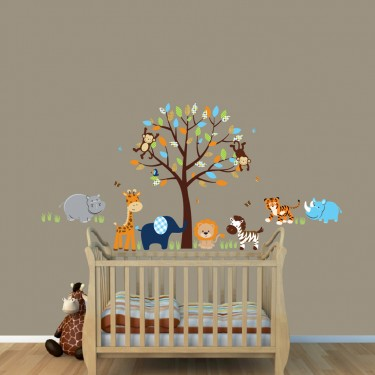Safari Nursery Wall Decals With Hippo Wall Decor For Girls