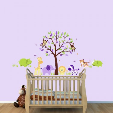 Safari Wall Clings With Hippo Wall Decal For Kids Playroom