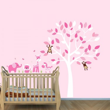 Pink Jungle Stickers With Zebra Wall Decals For Girls