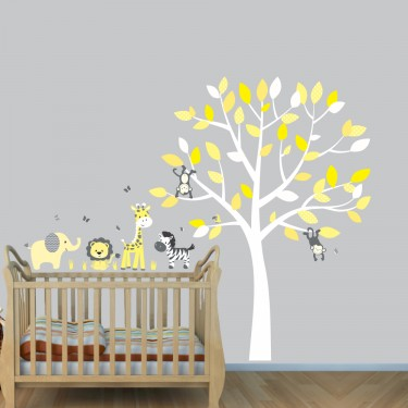 Grey Jungle Wall Stickers With Elephant Decals For Yellow