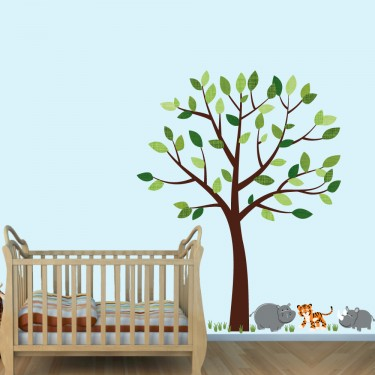 Green Jungle Wall Stickers and Decals For Kids Bedrooms