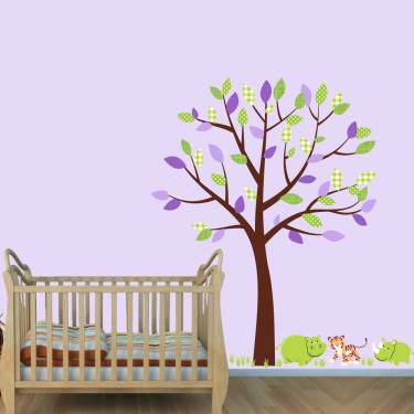 Safari Wall Clings With Hippo Wall Decal For Kids Rooms