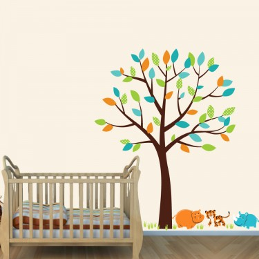 Jungle Wall Stickers For Nursery With Hippo Stickers For Kids Rooms