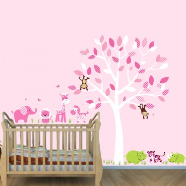 Jungle Stickers With Elephant Stickers and Hippo Wall Decals For Girls