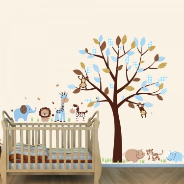 Blue & Brown Safari Wall Mural With Elephant Decals For Boys