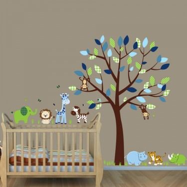 Green & Blue Safari Jungle Tree Wall Decals With Elephant Decals For Childrens Rooms