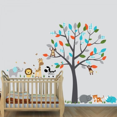 Colorful Wall Decals Safari Jungle With Tiger Decals For Boys